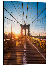 Aluminium print  Brooklyn Bridge in the sunlight, New York City, USA - Jan Christopher Becke