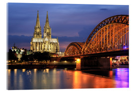 Acrylic print  Cologne Cathedral and Hohenzollern Bridge at night - Oliver Henze