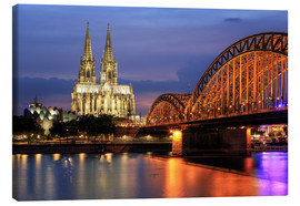 Canvas print  Cologne Cathedral and Hohenzollern Bridge at night - Oliver Henze