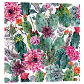 Acrylic print  Cacti, feathers and arrows