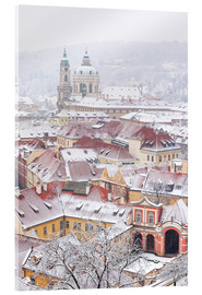 Acrylic print  winter roofs of Ledebursky palace and St. Nicolas church, Prague
