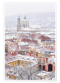 Premium poster  winter roofs of Ledebursky palace and St. Nicolas church, Prague