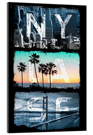 Acrylic print  New York, Los Angeles, San Francisco