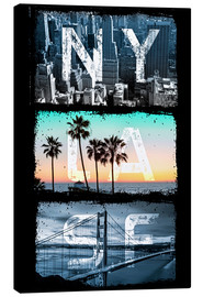 Canvas print  New York, Los Angeles, San Francisco