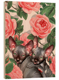 Wood print  Sphynx kitten with roses - Mandy Reinmuth