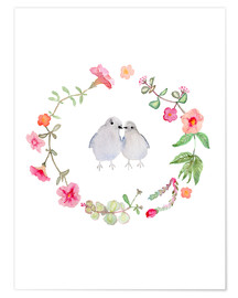 Premium poster  Wreath with love birds - Verbrugge Watercolor