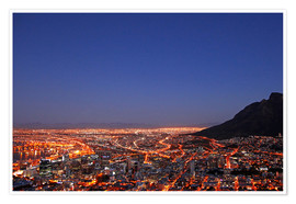 Premium poster  Cape Town at night, South Africa - wiw