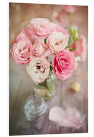 Foam board print  Romantic rose bouquet with feather