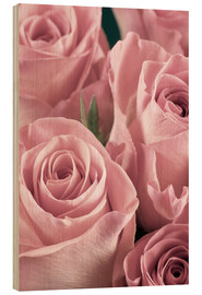 Wood print  Bunch of pale pink roses
