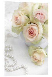 Acrylic print  Pastel-colored roses with pearls