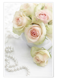 Premium poster  Pastel-colored roses with pearls