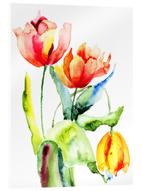 Acrylic print  Three Tulips