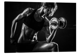 Aluminium print  Sportswoman with dumbbells