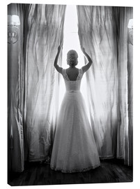 Canvas print  Elegant bride at big window