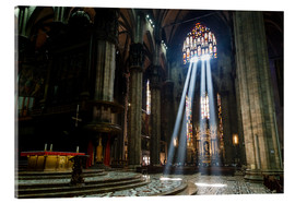 Acrylic print  Beams of Light inside Milan Cathedral