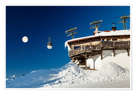 Premium poster  Chairlift and lodge in Megève