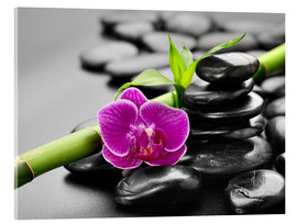 Acrylic print  Basalt stones, bamboo and orchid
