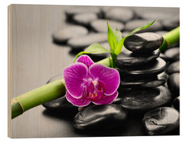 Wood print  Basalt stones, bamboo and orchid