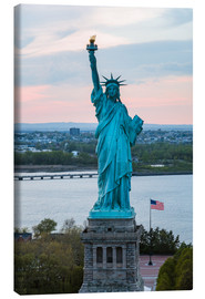 Canvas print  Aerial view of the Statue of Liberty at sunset, New York city, USA - Matteo Colombo