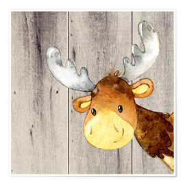 Premium poster  4 Friends of the Forest - Moose - UtArt