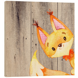 Wood print  4 Forest Animal Friends - Fox - UtArt
