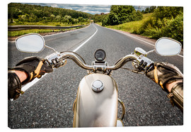 Canvas print  On tour with a vintage motorbike