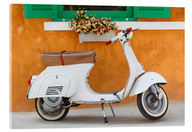 Acrylic print  White scooter in front of a window