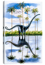 Canvas print  Alamosaurus under the palm trees
