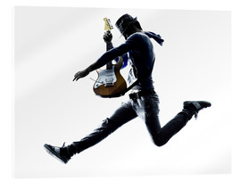 Acrylic print  Guitarist jumping in the air