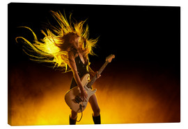 Canvas print  Rock girl with an electric guitar