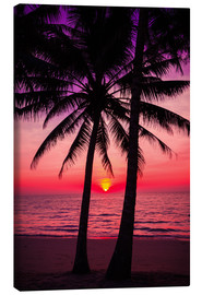 Canvas print  Palm trees and tropical sunset