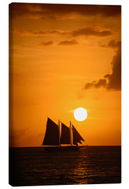 Canvas print  Sailing ship and sunset, Key West
