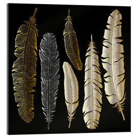 Acrylic print  Feathers in Gold and Silver