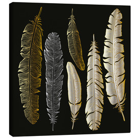 Canvas print  Feathers in Gold and Silver