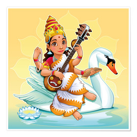 Premium poster  Saraswati with a swan - Kidz Collection