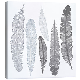 Canvas print  Feathers on white