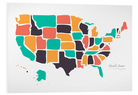 Foam board print  USA map modern abstract with round shapes - Ingo Menhard