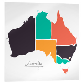 Acrylic print  Australia map modern abstract with round shapes - Ingo Menhard