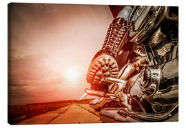 Canvas print  Boot on a motorcycle pedal