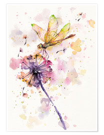 Premium poster  Dragonfly & dandelion - Sillier Than Sally