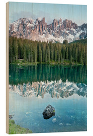 Wood print  Karersee (Lago di Carezza)