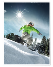 Premium poster  Snowboarder on a slope