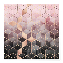 Premium poster  Pink And Grey Gradient Cubes - Elisabeth Fredriksson