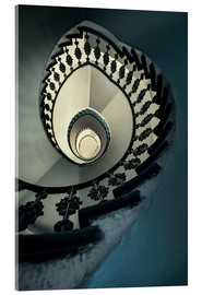 Acrylic print  Spiral staircase in beige and blue - Jaroslaw Blaminsky