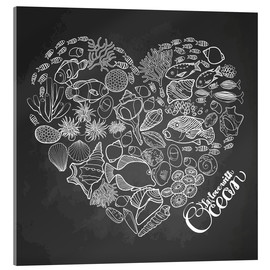 Acrylic print  Heart made of shells and fish