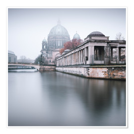 Premium poster Berlin Cathedral in winter fog