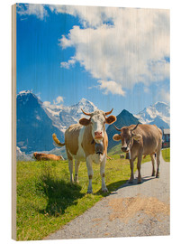 Wood print  Cows on the Mountain Pasture