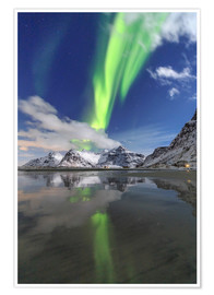 Premium poster  Northern lights and mountain reflections - Roberto Sysa Moiola