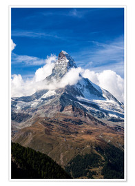 Premium poster  Matterhorn surrounded by clouds - Roberto Sysa Moiola