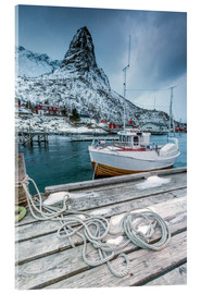 Acrylic print  A boat moored in the cold sea - Roberto Sysa Moiola